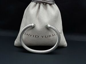 David Yurman 5mm Cable Classics Bracelet with Prasiolite & Diamonds size Medium