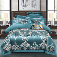 Silk Cotton Jacquard Baroque Luxury Bedding Set Embroidered Quilt Cover Sets Bed
