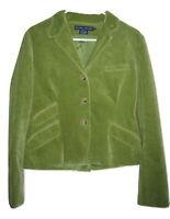 Ralph Lauren Womens Blazer Green Corduroy Equestrian Lined Jacket size 14
