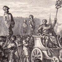 Gravure XVIIIe Scène Historique Bouvines Philippe Auguste Otton IV de Brunswick