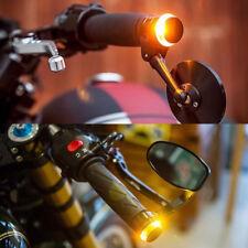 2 Universal Motorcycle Handlebar Turn Signal Grip Bar End LED Light Warning Lamp