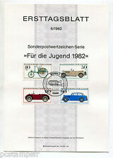 ALLEMAGNE FEDERALE RFA, 1982, AUTOMOBILES, 4 timbres,955/958, DOCUMENT 1° JOUR