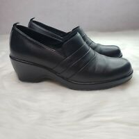 Dansko Black Leather Slip On Clogs Mules Aubrey Womens Size 39 2805EK Nursing