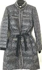 Tory Burch Macey Belted Down Puffer Coat White Dotted Navy Blue Size 6 S-M $595