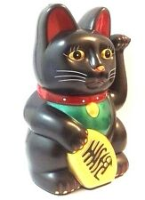 "Feng Shui BLACK BECKONING CAT Wealth Lucky Waving Kitty Maneki Neko 6"" Tall"