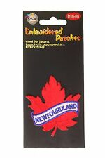 NEWFOUNDLAND MAPLE LEAF EMBROIRERED IRON-ON PATCH CREST BADGE 2.5 X 2.5 INCHES