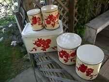 Old Tin Kitchen Canister Set W/ Matching Bread Box, Red Fruit