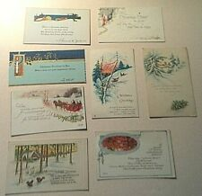 8 Christmas postcards 1920's Cars Sleighs scenery Birds Country