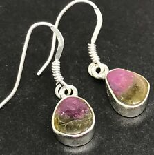 Natural watermelon tourmaline drop earrings, solid Sterling Silver. U.K. #2