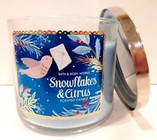 BATH & BODY WORKS SNOWFLAKES & CITRUS SCENTED CANDLE 3 WICK 25-45 HOUR 14.5oz