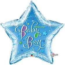 """36"""" SUPERSHAPE FOIL BALLOON WELCOME BABY BOY STARS HOLOGRAPHIC STAR"""