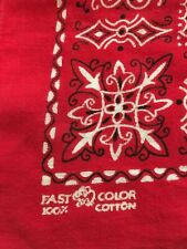 Vintage Fast Color 100% Cotton Red Elephant Trunk Up Bandana DoRag Flower Center