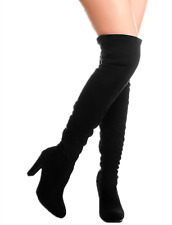 Women's Suede Over the knee Boots Chunky Heels String Riding Women's shoes Dasia