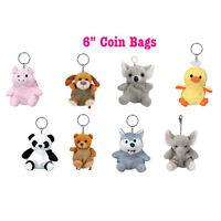 "8 Animal Plush Key chain Zippered 6"" Coin Bags Elephant Bear Duck Dog Panda Pig"