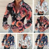 Men's Long Sleeve Flower Printed T-Shirt Slim Fit Casual New Fashion Blouse Tops