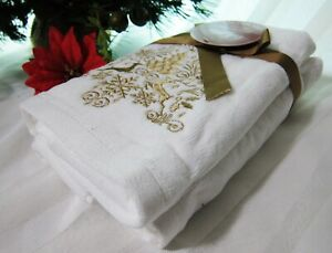 2x Christmas Hand Towels White Gold Deer Embroid Super Soft Plushy Thick Cotton