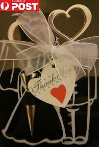 2pc Wedding Party Corkscrew Wine Bottle Opener Beer Stopper Set Bride Groom Gift