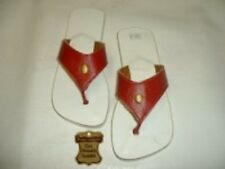 TONGS 37 TOUT CUIR ROUGE NEUF