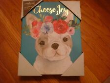 "New Clementine Turquoise Blue Frenchie ""Choose Joy"" Canvas  8"" x 10"""