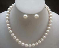 18'' 10-11mm Australian south seas white pearl necklace earing set 14k