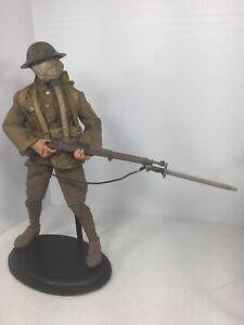 1/6 CUSTOM US WW1 A.E.F. DOUGHBOY INFANTRYMAN 1903 SPRINGFIELD +STAND DRAGON BBI