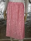 Women's Vintage 1980's Pink Satin Pleated Elastic Waist Skirt, Size M, Pre-Owned