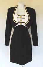 VINTAGE 1980s 90s BETSY & ADAM DRESS & JACKET SIZE 9/10 POLY ACETATE BLACK GOLD