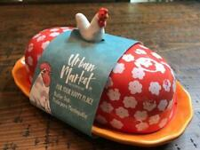 Floral farmhouse chicken butter dish