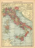1915 Antique Map of Italy Vintage Italy Map Gallery Wall Art smap 8157