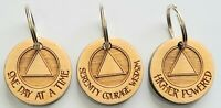 Keychains 3 Piece Lot 1 1/2 inch Round Maple Wood Alcoholics Anonymous # 3