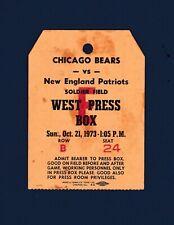 Chicago Bears vs New England Patriots 1973 football Press Box Pass