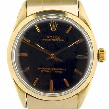 Men Rolex 14K Gold Shell Oyster Perpetual No-Date Watch Black w/Oyster Band 1024