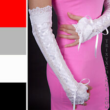 Long Corset Gloves White Bride Lace Up Sleeves Wedding Arm Covers Corpse Stretch