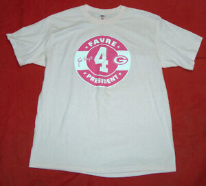 NFL Players Mens SZ XL Brett Farve 4 President Pink Green Bay Packers T Shirt