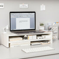 Computer Monitor Stand Desktop Riser Holder Wooden Keyboard Base Storage Rack