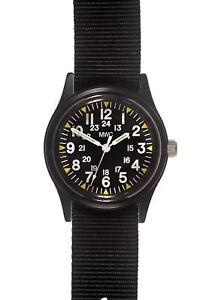 MWC Matt Black Vietnam War Pattern Military Watch on Nylon Webbing Strap