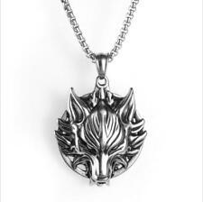 Punk Men's Stainless Steel Skull Tiger Wolf Head Biker Pendant Necklace Chain