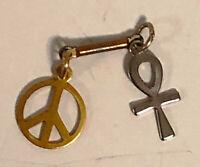 Vintage 1960's Small Metal Peace Sign and Ankh  Pendant - Original Hippie Era