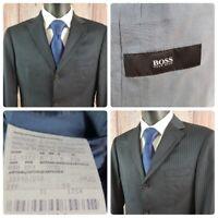 Hugo Boss | 38 S | Rossellini Black Virgin Wool Pinstriped 3 Button Suit Jacket