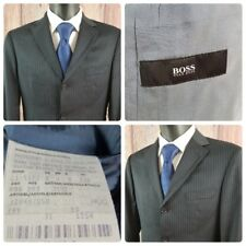 Hugo Boss | 38 S | Rossellini Black Virgin Wool Pinstriped 3 Button Suit Jacket