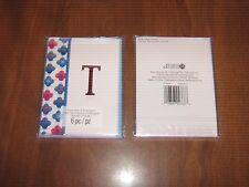 """New 2 Pkgs.=12 Blank Notecards & Envelopes - Red Foil Initial """"T""""- STUDIO 18"""