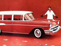 1957 CHEVROLET BEL AIR TOWNSMAN vintage advertising postcard COOL RED AUTOMOBILE