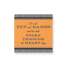 Deesign Design Halloween Black Orange Vampire Stake Beverage Napkins