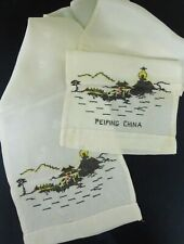 Vintage 1940s Wwii Peiping, China Hand-Embroidered Silk Scarf - Excellent!