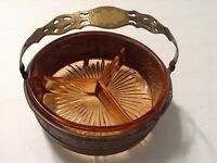 Vintage Scroll Design Solid Brass Stand w/ Amber Glass Relish Condiment Dish