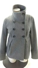 OLD NAVY WOMEN'S GRAY WOOL NAVY BLUE POLYESTER LINING PEACOAT SIZE M