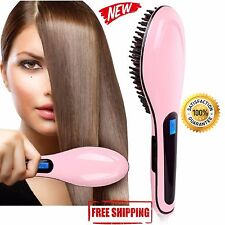Hair Straightener Brush Comb Massager LCD Straight Electric Styler Anti Scald