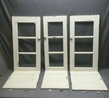 Vintage Set 6 White Cabinet Cupboard Doors 3 Glass 3 Wood Raised Panel 192-19Lr
