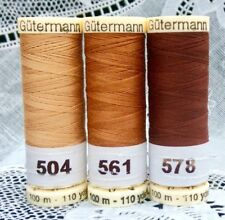 3 different brown colors GUTERMANN 100% polyester thread 110 yards each spool