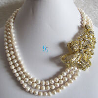 """18-20"""" 5-7mm 3Row Freshwater Pearl Necklace X3200G UK——MORE COLORS"""